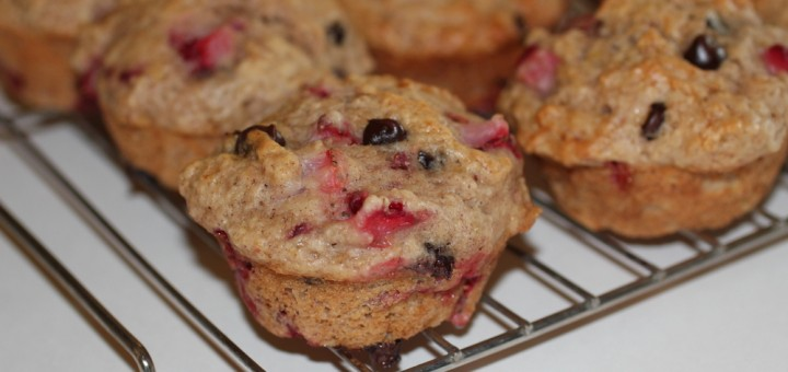 light strawberry choc chip muffins